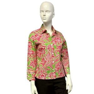 IZOD Pink and Green Field of Florals Blouse Size S